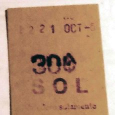 Coleccionismo Billetes de transporte: BILLETE METRO MADRID SOL PPOS 50S CAPICÚA. Lote 29350541