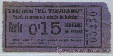GSC 052 BILLETE DE TRANVIAS DE EL TIBIDABO / TRANVIA AZUL 15 CTS. (Coleccionismo - Billetes de Transporte)