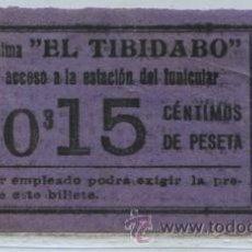 Coleccionismo Billetes de transporte: GSC 052 BILLETE DE TRANVIAS DE EL TIBIDABO / TRANVIA AZUL 15 CTS.. Lote 29522103
