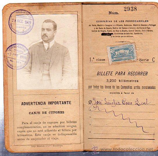 Coleccionismo Billetes de transporte: BILLETE POR KILÓMETROS, PRIMERA CLASE, SERIE C, 1909-1910 - Foto 4 - 29693002