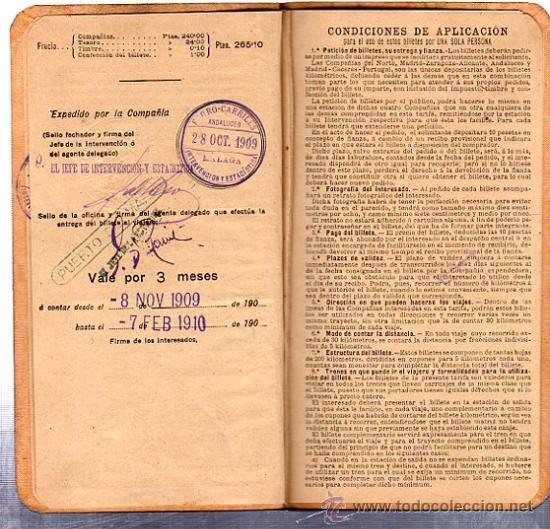 Coleccionismo Billetes de transporte: BILLETE POR KILÓMETROS, PRIMERA CLASE, SERIE C, 1909-1910 - Foto 2 - 29693002