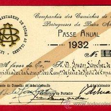 Coleccionismo Billetes de transporte: TREN , FERROCARRIL COMPAÑIA PORTUGAL BEIRA ALTA , BILLETE LIBRE CIRCULACION 1932 , F51. Lote 29742475