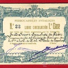 Coleccionismo Billetes de transporte: TREN , FERROCARRIL COMPAÑIA ANDALUCES 1ª CLASE , BILLETE LIBRE CIRCULACION 1934 , F62. Lote 29742632