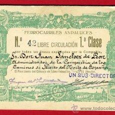 Coleccionismo Billetes de transporte: TREN , FERROCARRIL COMPAÑIA ANDALUCES 1ª CLASE , BILLETE LIBRE CIRCULACION 1932 , F63. Lote 29742644