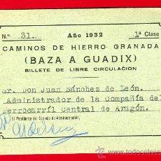 Coleccionismo Billetes de transporte: TREN , FERROCARRIL COMPAÑIA HIERRO GRANADA , BAZA A GUADIX , BILLETE LIBRE CIRCULACION 1932 , F64. Lote 29742657