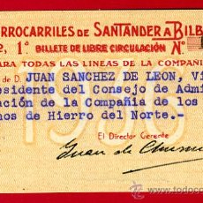 Coleccionismo Billetes de transporte: TREN , FERROCARRIL COMPAÑIA SANTANDER BILBAO 1ª CLASE , BILLETE LIBRE CIRCULACION 1936 , F79. Lote 29742940
