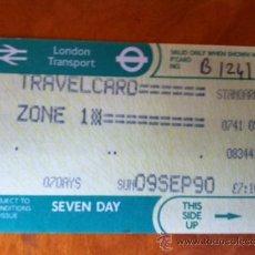 Coleccionismo Billetes de transporte: LONDON TRANSPORT. TRAVELCARD SEMANAL . 1990. ABONO SEMANAL DE TRANSPORTE LONDRES. Lote 29745480