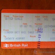 Coleccionismo Billetes de transporte: BILLETE DE TREN INGLES, DE LONDRES A GATWICK AEROPUERTO. 1990. BRITISH RAIL. Lote 29745501