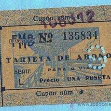 Coleccionismo Billetes de transporte: FMB. TRANSVERSAL. TARJETA DE ABONO PARA 4 VIAJES. FERROCARRIL METROPOLITANO DE BARCELONA., S/F... Lote 29754168