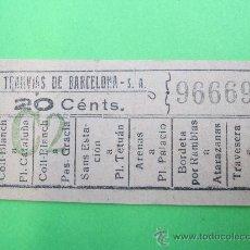 Coleccionismo Billetes de transporte: BILLETE TRANVIA 20 CENTIMOS CAPICUA , C2 TRANVIAS DE BARCELONA. Lote 29825757