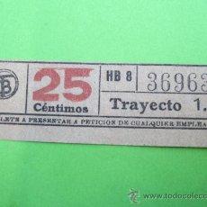 Coleccionismo Billetes de transporte: BILLETE TRANVIA DE 25 CENTIMOS CAPICUA - TRANVIAS DE BARCELONA. Lote 29826234