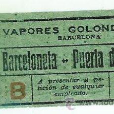 Coleccionismo Billetes de transporte: VAPORES LAS GOLONDRINAS BARCELONA. Lote 30541387