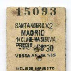 Coleccionismo Billetes de transporte: BILLETE DE TREN RENFE DE CARTÓN SANTANDER - MADRID 1ª CLASE, VIA SEGOVIA 4/12/1949. Lote 30845353