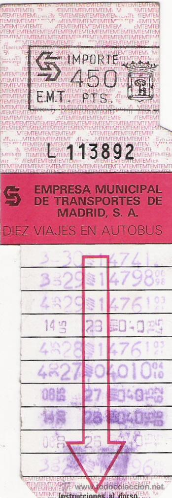 BONOBUS - EMPRESA MUNICIPAL DE TRANSPORTES DE MADRID (Coleccionismo - Billetes de Transporte)