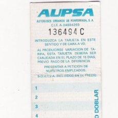 Coleccionismo Billetes de transporte: BONOBUS - AUPSA - AUTOBUSES URBANOS DE PONFERRADA . Lote 31214496