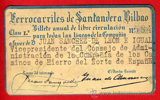 TREN , FERROCARRIL COMPAÑIA SANTANDER BILBAO 1ª CLASE , BILLETE LIBRE CIRCULACION 1942 , F81 (Coleccionismo - Billetes de Transporte)