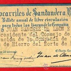 Coleccionismo Billetes de transporte: TREN , FERROCARRIL COMPAÑIA SANTANDER BILBAO 1ª CLASE , BILLETE LIBRE CIRCULACION 1942 , F81. Lote 31352977