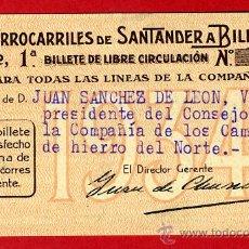 Coleccionismo Billetes de transporte: TREN , FERROCARRIL COMPAÑIA SANTANDER BILBAO 1ª CLASE , BILLETE LIBRE CIRCULACION 1934 , F82. Lote 31353002