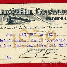 Coleccionismo Billetes de transporte: TREN , FERROCARRIL CANTABRICO 1ª CLASE , BILLETE LIBRE CIRCULACION 1932 , F85. Lote 31353056