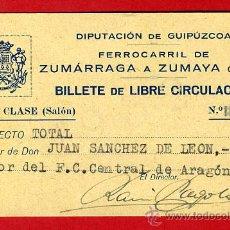 Coleccionismo Billetes de transporte: TREN , FERROCARRIL ZUMARRAGA A ZUMAYA UROLA 1ª CLASE , BILLETE LIBRE CIRCULACION 1932 , F87. Lote 31353100