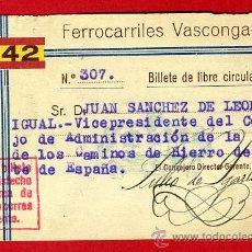 Coleccionismo Billetes de transporte: TREN , FERROCARRILES VASCONGADOS VASCONGADAS , BILLETE LIBRE CIRCULACION 1942 , F96. Lote 31353999