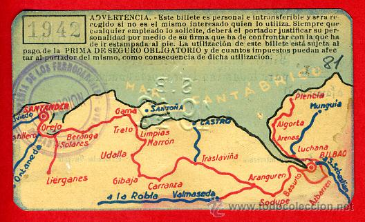 Coleccionismo Billetes de transporte: TREN , FERROCARRIL COMPAÑIA SANTANDER BILBAO 1ª CLASE , BILLETE LIBRE CIRCULACION 1942 , F81 - Foto 2 - 31352977