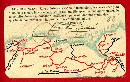 Coleccionismo Billetes de transporte: TREN , FERROCARRIL COMPAÑIA SANTANDER BILBAO 1ª CLASE , BILLETE LIBRE CIRCULACION 1934 , F82 - Foto 2 - 31353002