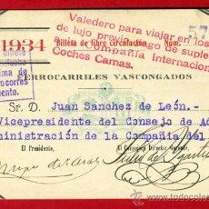 Coleccionismo Billetes de transporte: TREN , FERROCARRILES PAIS VASCO VASCONGADOS , BILLETE LIBRE CIRCULACION 1934 , F95. Lote 31669692