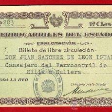 Coleccionismo Billetes de transporte: TREN , BILLETE FERROCARRILES DEL ESTADO , EXPLOTACION , 1ª CLASE LIBRE CIRUCULACION, 1928 , F100. Lote 31669756