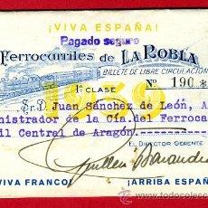 Coleccionismo Billetes de transporte: TREN , FERROCARRILES DE LA ROBLA PAIS VASCO LEON ,1ª CLASE , BILLETE LIBRE CIRCULACION 1939 , F109. Lote 31669836