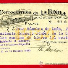 Coleccionismo Billetes de transporte: TREN , FERROCARRILES DE LA ROBLA PAIS VASCO LEON ,1ª CLASE , BILLETE LIBRE CIRCULACION 1934 , F106. Lote 31669903