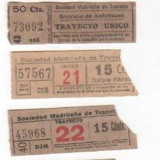 Coleccionismo Billetes de transporte: LOTE DE 5 BILLETES ANTIGUOS DEL TRANVÍA DE MADRID. MODELOS DIFERENTES. VER FOTO. Lote 32308409