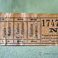 Coleccionismo Billetes de transporte: BILLETE DE TRANVIAS, VALENCIA, IDA Y VUELTA, RUZAFA MATADERO, CEMENTERIO, 15 CENTIMOS, 17471 CAPICUA. Lote 32399518