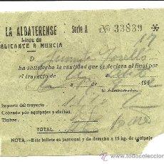 Coleccionismo Billetes de transporte: (BT-15)BILLETE DE TRANPORTE LA ALBARATENSE,LINEA DE ALICANTE A MURCIA 1942. Lote 32508793