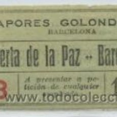 Coleccionismo Billetes de transporte: GSC 351 BILLETE DE VAPORES GOLONDRINAS BARCELONA. Lote 32554040