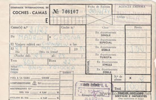 COMPAÑIA INTERNACIONAL DE COCHES CAMAS - AÑO.1974 (Coleccionismo - Billetes de Transporte)