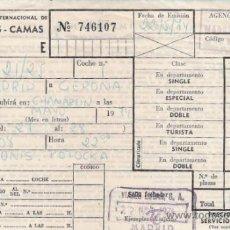 Coleccionismo Billetes de transporte: COMPAÑIA INTERNACIONAL DE COCHES CAMAS - AÑO.1974. Lote 32604277