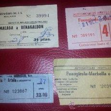Coleccionismo Billetes de transporte: BILLETES AUTOBUS ALSINA GRAELLS Y AUT. PORTILLO MALAGA BENAGALBON FUENGIROLA MARBELLA. Lote 35220750