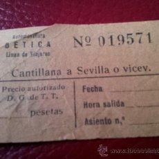 Coleccionismo Billetes de transporte: BILLETE AUTOBUS CANTILLANA A SEVILLA. AUTOMOVILISTA BETICA LINEA DE VIAJEROS. Lote 35661104