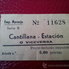 Coleccionismo Billetes de transporte: BILLETE AUTOBUS CANTILLANA - ESTACION. SEVILLA. EMPRESA NARANJO. Lote 35661123