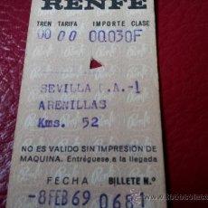 Coleccionismo Billetes de transporte: BILLETE RENFE SEVILLA PLAZA ARMAS A ARENILLAS 1969. Lote 35661158