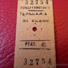 Coleccionismo Billetes de transporte: BILLETE EDMONSON RENFE CAZALLA Y CONSTANTINA A SEVILLA PLAZA ARMAS . Lote 35661190