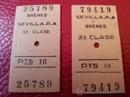 BILLETES EDMONSON RENFE SEVILLA PLAZA ARMAS A BRENES Y VICEVERSA. TERCERA CLASE (Coleccionismo - Billetes de Transporte)