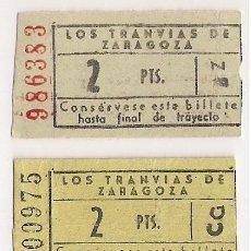 Coleccionismo Billetes de transporte: BILLETE TRANVIAS DE ZARAGOZA. LOTE DE 5 BILLETES VARIOS PRECIOS. TRANVÍA. Lote 35805916