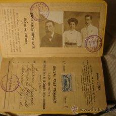 Coleccionismo Billetes de transporte: ANTIGUO BILLETE KILOMÉTRICO 1ª CLASE, SERIE F, 5.000 KMS, ORIGINAL DEL AÑO 1908,. Lote 36204944