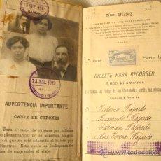 Coleccionismo Billetes de transporte: ANTIGUO BILLETE KILOMÉTRICO 1ª CLASE, SERIE G, 6.000 KMS, ORIGINAL DEL AÑO 1912,. Lote 36213143