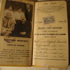 Coleccionismo Billetes de transporte: ANTIGUO BILLETE KILOMÉTRICO 1ª CLASE, SERIE E, 4.400 KMS, ORIGINAL DEL AÑO 1910,. Lote 36213424