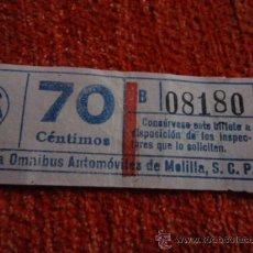 Coleccionismo Billetes de transporte: BILLETE COMPAÑIA OMNIBUS AUTOMOVILES DE MELILLA 70 CENTIMOS CAPICUA. Lote 37537350