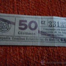 Coleccionismo Billetes de transporte: BILLETE COMPAÑIA OMNIBUS AUTOMOVILES DE MELILLA 50 CENTIMOS CAPICUA. Lote 37537371