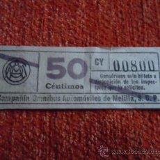Coleccionismo Billetes de transporte: BILLETE COMPAÑIA OMNIBUS AUTOMOVILES DE MELILLA 50 CENTIMOS CAPICUA. Lote 37537392